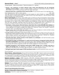 Telecom Resume Template  sample of objectives in a  resume     Telecom Consultant Sample Resume Template For Professional Resume Exles Telecommunications Templates Industry How To Logistics Specialist