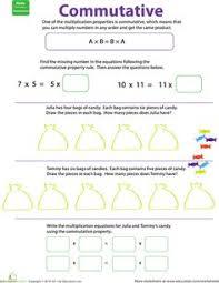 Commutative property, Multiplication and The dice on PinterestWorksheets: Properties of Multiplication: Commutative