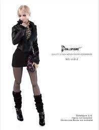 <b>1/6 Scale cc212 Women's</b> Black Plush Leather Coat Dress ...