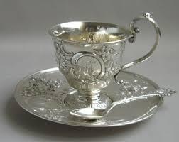 Antique British <b>silver tea cup</b>, saucer and spoon. …   Tea pots, Tea ...