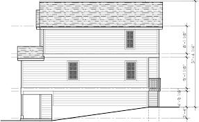Four plex House Plans  Unit Multi Family House Plans  F  House side elevation view for F  Four plex house plans  unit