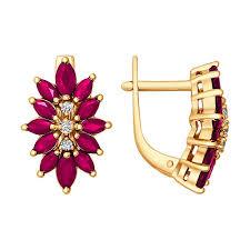 <b>Серьги</b>-<b>цветы</b> из золота c тремя <b>бриллиантами</b> и рубинами ...