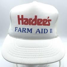 Vintage Hardees Farm Aid II Trucker Cap <b>Hat</b> Mesh Foam 1987 ...