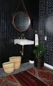 powder room black granite walls