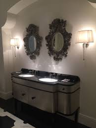 dual vanity bathroom: black framed mirror and double vanity