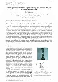 Tear Toughness Evaluation of <b>High</b>-<b>Quality</b> Squeeze-Cast and ...