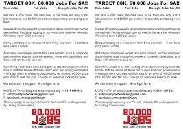target k jobs anti poverty network sa target 80k jobs flier expanded version page one