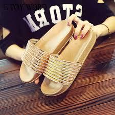 <b>E TOY WORD 2019</b> Fashion women slippers Summer Bling ...