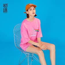 <b>Toyouth 2019 Women Spring</b> T shirt Casual Letter Rainbow Print ...