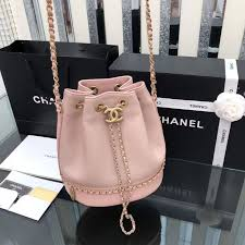Chanel 2019 new <b>woman drawstring bucket bag</b> chain <b>shoulder</b> ...