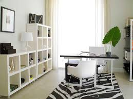 blue home office design with white office furniture and neat office storage for modern office black white home office inspiration