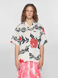 <b>Short Sleeved</b> Floral Stripe <b>Print</b> Viscose Shirt | Marni