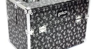 Details about Vanity Case Makeup Box Silver Black <b>Flowers</b> Storage ...