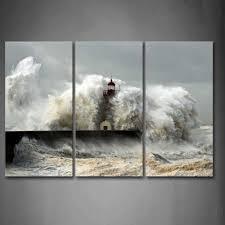 <b>3 Piece HD Printed</b> Tsunami Waves Painting On Canvas Room ...