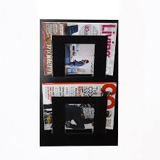 magazine rack wall mount: wall mounted two tier magazine rack