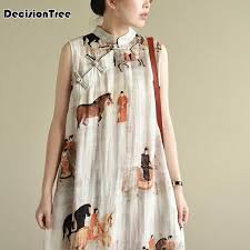 <b>2019</b> cotton linen <b>qipao</b> dress chinese dresses <b>traditional</b> print ...