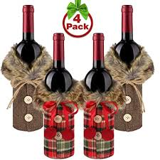 Buy <b>Christmas</b> Sweater Wine Bottle Cover with <b>Faux Fur Collar</b> and ...