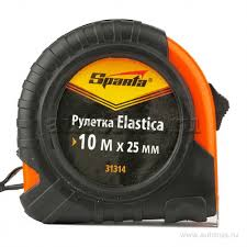 <b>Рулетка</b> Elastica, 10 мx25 мм, обрезиненный корпус <b>SPARTA 31314</b>