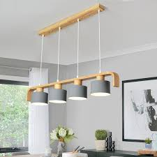 LukLoy Wood <b>Modern Pendant Lights LED</b> Kitchen Lights LED lamp ...