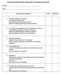 writing personal essays in spanish   part ii ensayos personales  editing checklist