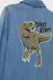 Джинсовая <b>рубашка с принтом</b> - Рубашка/Dino King - Дети | H&M ...