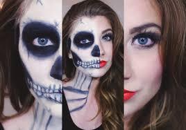 makeup tutorial half skull half glam