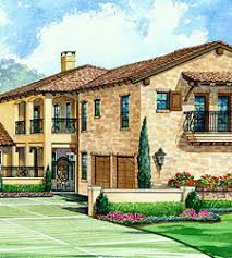 Tuscan House Plans   Dallas Design Group    Low pitched roofs  sometimes   wide  bracketed eaves