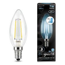 <b>Лампа Gauss</b> LED Filament Candle E14 7W 4100К step dimmable ...