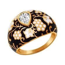 <b>Кольцо с орнаментом чёрно-золотого</b> цвета SOKOLOV - артикул ...