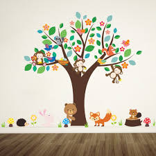 forest animals monkey play under <b>flower tree wall</b> sticker for kids ...