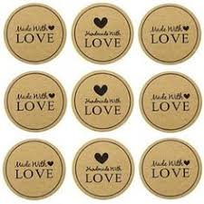 63 THANK YOU <b>stickers</b> with mini heart <b>kraft</b> brown <b>labels</b> - <b>1 inch</b> ...