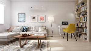 apartment living room with mid century modern style decor paired modern tufted sofa sleeper and geometric add midcentury modern style