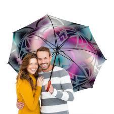 <b>Зонт трость с деревянной</b> ручкой радуга
