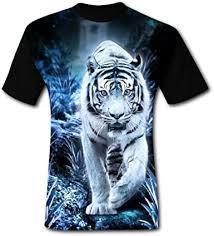 Men's <b>3D</b> Print White <b>Tiger</b> Classic T-Shirt <b>Round</b> Neck Fit Casual ...