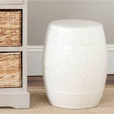 patio stool: lotus off white ceramic patio stool