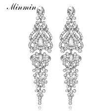 <b>Minmin</b> Silver Color <b>Crystal</b> Long Drop Earrings for Women Elegant ...