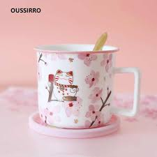 OUSSIRRO <b>Creative</b> Style Hello Lucky <b>Kitty Cat</b> milk coffee tea ...