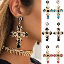 New Fashion <b>Big Vintage Crystal</b> Cross Drop Earrings for <b>Women</b> ...
