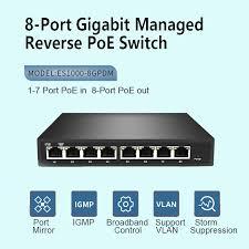 Reverse Switch 24v <b>8 Port Gigabit</b> WEB Managed Reverse PoE ...