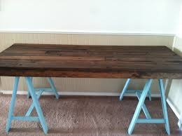 diy pallet and sawhorse desk tutorial simple stylings build office desk woodworking