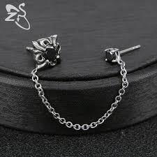 <b>Zs 1 pc</b> flower shape black zircon ear stud <b>stainless</b> steel earring ...