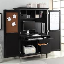 modern black computer armoire with mini white board and note paper space plus storage armoire office desk