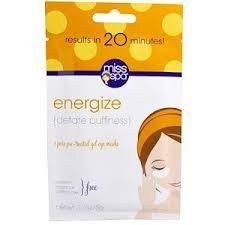 <b>Miss Spa</b>, Energize, <b>Pre</b>-<b>Treated Gel</b> Eye Masks, 1 Pair