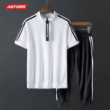 2019 <b>Summer Mens</b> Fitness <b>Tracksuit</b> Set <b>Sportswear Mens</b> ...