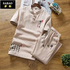 tshirt men    Chinese wind <b>summer linen set</b> Men's <b>short</b> sleeve T ...