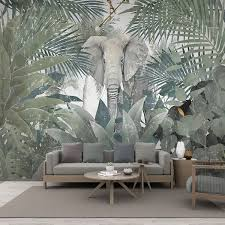 <b>Custom</b> Mural <b>Wallpaper Nordic Tropical</b> Plant Tree Animal ...