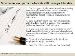 top  mcdonalds shift manager interview questions and answers       other interview tips for mcdonalds shift manager