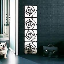 Ouniman 4PCS Acrylic Rose Mirror Wall Decal ... - Amazon.com