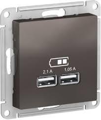 <b>Розетка USB</b> AtlasDesign (2xUSB, под рамку, с/у, мокко ...