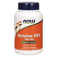 <b>Бетаин гидрохлорид</b> 648 мг 120 капс. NOW